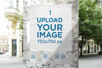 Mockup of a Tear-Off Flyer Taped on a Lamppost 4548-el1