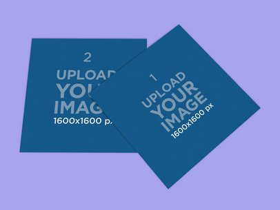 Mockup Featuring Two Vinyl Records Placed on a Plain Color Surface 4541-el1