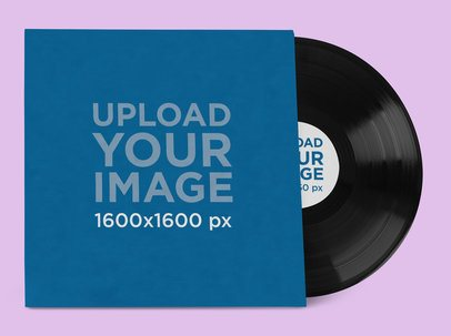 Mockup Featuring an LP Record and Its Cover Placed on a Colored Surface 37204-r-el2