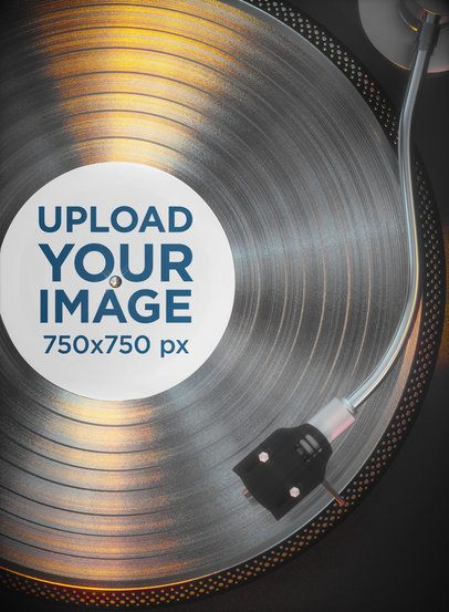 Mockup of a Vinyl Record Playing on a Turntable 37278-r-el2
