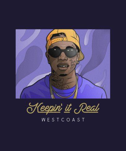 T-Shirt Design Creator with a West Coast Rapper Graphic 2606c