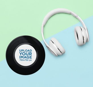 Mockup of a Vinyl Record Placed Next to Some Headphones 36717-r-el2