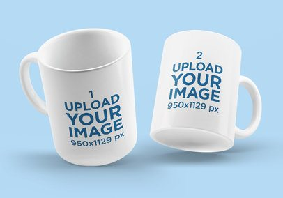 Mockup Featuring a Pair of Coffee Mugs Against a Colored Backdrop 4502-el1