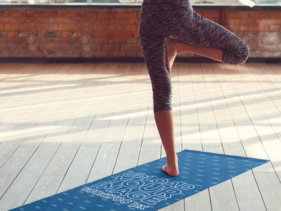 Mockup Featuring a Woman Standing on a Yoga Mat 37103-r-el2