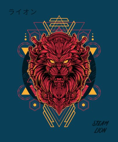 Sci-Fi T-Shirt Design Template with a Cool  Illustration of a Lion 1792b-el1