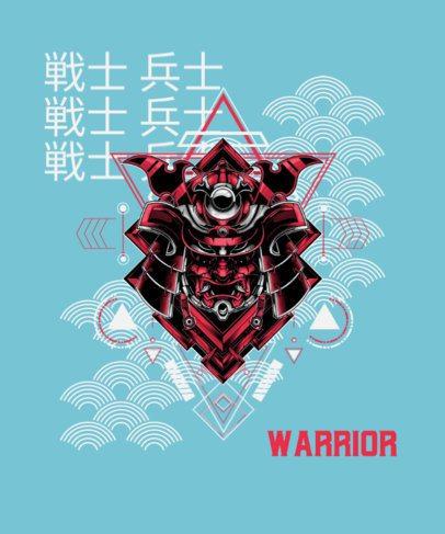T-Shirt Design Template Featuring a Japanese Warrior's Mask 1827d-el1