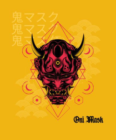T-Shirt Design Maker Featuring an Oni Mask Graphic 1827f-el1