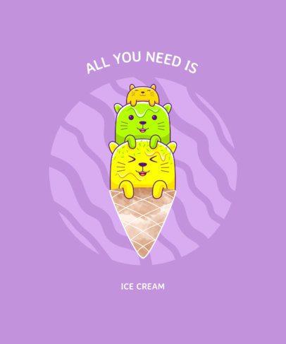 Colorful T-Shirt Design Creator with Three Ice Cream Cats 1876b-el1