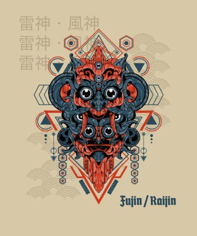 Illustrated T-Shirt Design Maker with Japanese Gods 1827i-el1