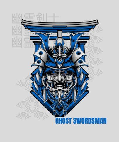 Illustrated T-Shirt Design Maker with a Ghost Swordsman's Mask 1827o-el1
