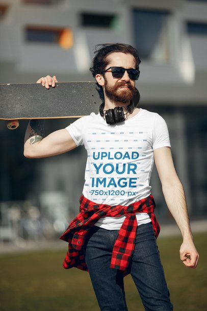 T-Shirt Mockup Featuring a Skater with Headphones Standing on the Street 37437-r-el2