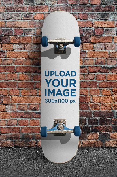 Skateboard Mockup Featuring a Brick Wall Background 4649-el1