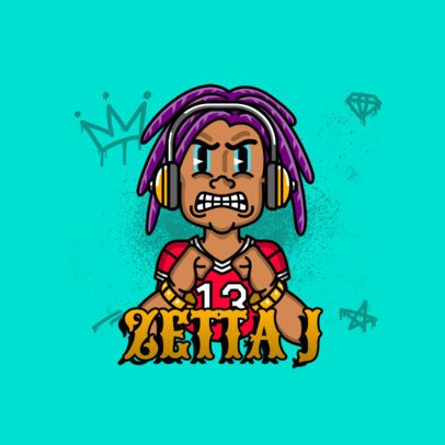 Hip Hop Avatar Logo Maker Featuring a Character with Locks 3331b