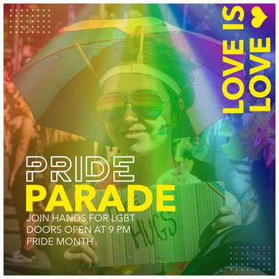 Colorful Instagram Post Maker for a Pride Parade Event Ad 2642e
