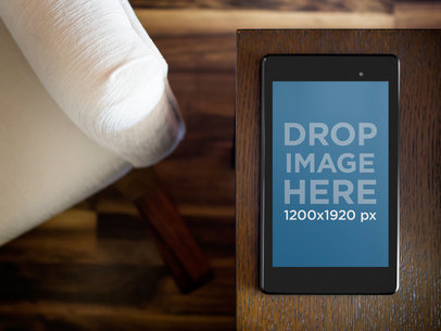 Google Nexus7 Black Portrait On Dark Wooden Table