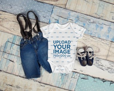 Mockup of a Toddler Outfit with a Baby Onesie 3746-el1