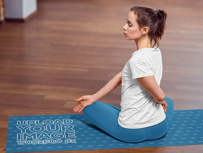 Yoga Mat Mockup Featuring a Woman in a Crossed Leg Sitting Position 37113-r-el2