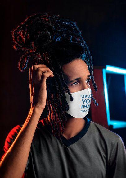 Face Mask Mockup of a Man with Locs 4664-el1