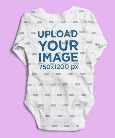 Mockup of the Back of a Sublimated Onesie Lying Flat on a Surface 4595-el1