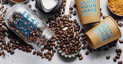 Coffee Cup Mockup Featuring a Jar and Spilled Coffee Beans 36865-r-el2