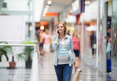 Tank Top Mockup of a Pregnant Woman at a Shopping Mall 37248-r-el2