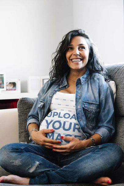 Tank Top Mockup Featuring a Happy Pregnant Woman Sitting on a Couch 37216-r-el2
