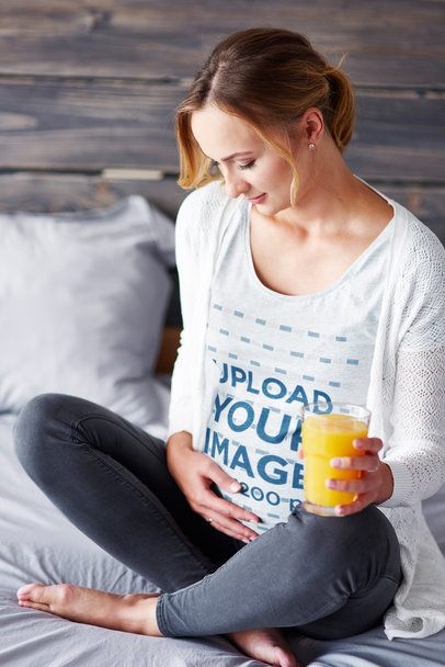 Heather T-Shirt Mockup Featuring a Pregnant Woman Drinking Juice 37004-r-el2