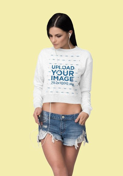 Mockup of a Woman Wearing a Crop Top Sweatshirt 4403-el1
