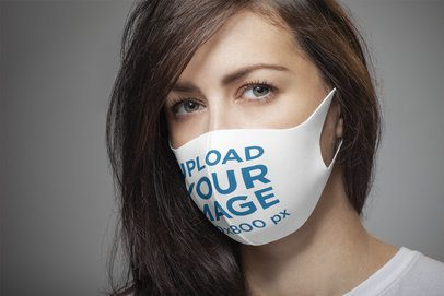 Closeup-View Mockup of a Long-Haired Woman Wearing a Face Mask 4699-el1