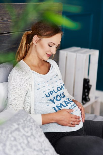 Tee Mockup of a Pregnant Woman Touching Her Belly 37009-r-el2