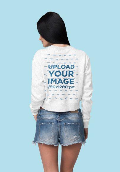 Crop Top Sweatshirt Mockup Featuring a Woman at a Studio 4405-el1