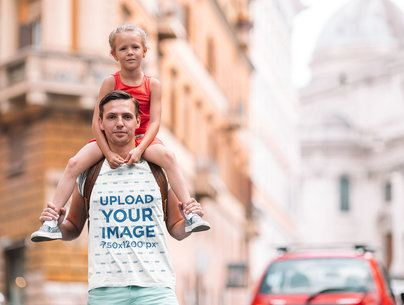 T-Shirt Mockup of a Dad Carrying His Girl 37457-r-el2