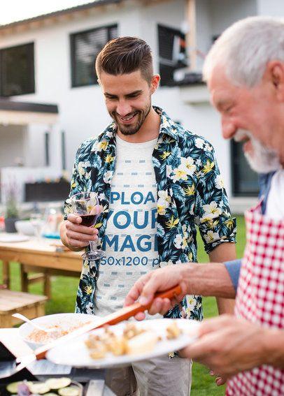 T-Shirt Mockup of a Man at a Barbecue 37415-r-el2