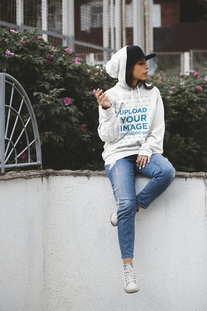 Pullover Hoodie Mockup Featuring a Woman Smoking 37607-r-el2