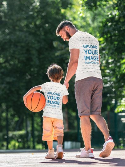 Back-View T-Shirt Mockup of a Father Playing Basketball with His Son 37492-r-el2