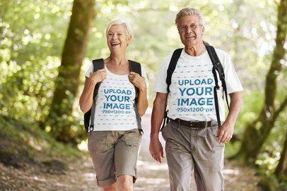 T-Shirt Mockup Featuring a Senior Couple Hiking 37646-r-el2