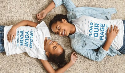 T-Shirt Mockup of Mom and Daughter Lying on the Floor 37464-r-el2