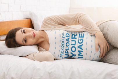 Mockup of a Pregnant Woman with a Tank Top Lying in Bed 37017-r-el2