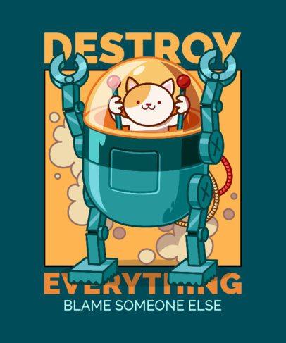 T-Shirt Design Creator Featuring a Robotic Cat Cartoon 2649b