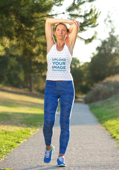 Activewear Tank Top Mockup of a Woman Stretching Her Arms 37943-r-el2
