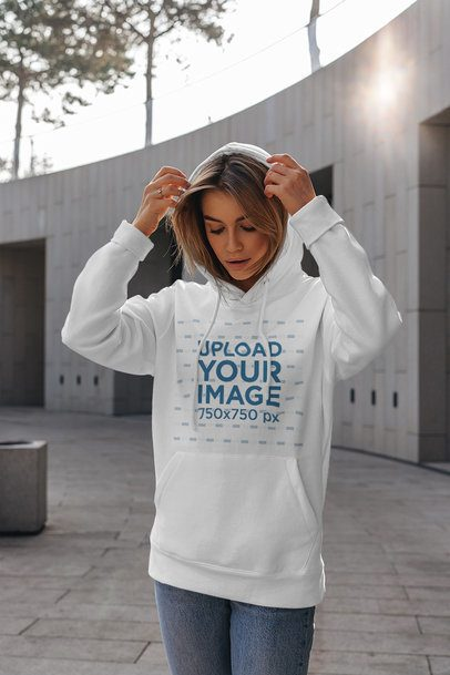 Hoodie Mockup of a Serious Woman With Her Hands Near Her Head 4773-el1
