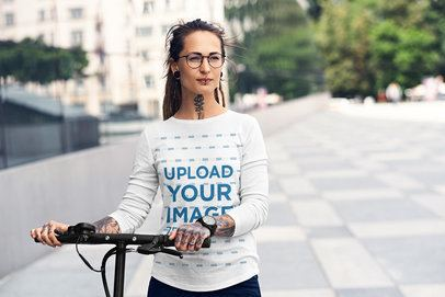 Long-Sleeve Mockup Featuring a Woman with a Bicycle on the Street 38050-r-el2