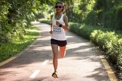 Tank Top Mockup Featuring a Woman Running Through an Open Road 37951-r-el2