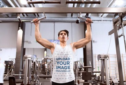 Tank Top Mockup of a Man Training in the Gym 37878-r-el2