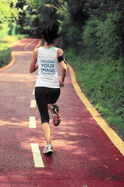 Back-View Mockup of a Female Runner Wearing a Tank Top 37982-r-el2