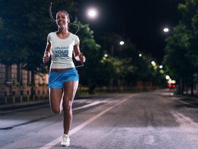 T-Shirt Mockup of a Woman Jogging at Night 37985-r-el2