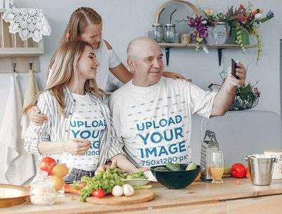 T-Shirt Mockup of a Grandfather Taking a Selfie with His Family 37516-r-el2