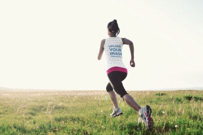Back View Mockup of a Woman with a Tank Top Running at a Field 38093-r-el2