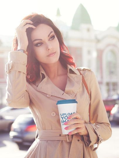 Coffee Cup Mockup Featuring a Fashionable Woman 36883-r-el2