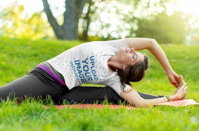 T-Shirt Mockup of a Woman Doing Yoga in Nature 38137-r-el2